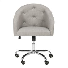 Amy Tufted Linen Chrome Leg Swivel Office Chair - Grey / Chrome