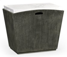 Rectangular Grey & Faux White Marble Storage End Table