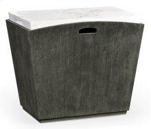 Rectangular Grey & Faux White Marble Storage End Table