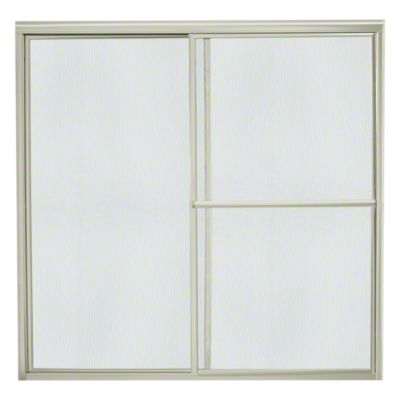 "Deluxe Sliding Bath Door - Height 56-1/4"", Max. Opening 57-3/4"" - Nickel with Rain Glass Texture"