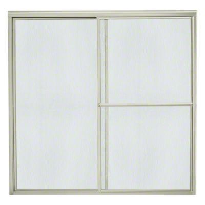 """Deluxe Sliding Bath Door - Height 56-1/4"""", Max. Opening 57-3/4"""" - Nickel with Rain Glass Texture"""