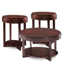 Oval Chocolate Cherry Condo/Apartment Coffee Table & Two End Tables 3-Pack