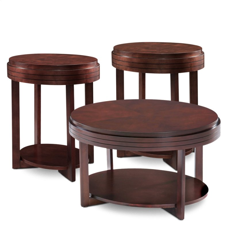 Oval Chocolate Cherry Condo Apartment Coffee Table Two End Tables 3 Pack