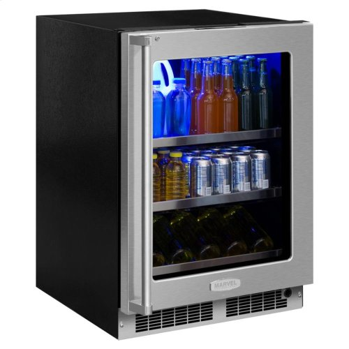 """24"""" Beverage Center with Display Wine Rack - Stainless Frame, Glass Door With Lock - Integrated Left Hinge, Professional Handle"""