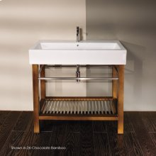 "Free-standing under-counter console table with brushed stainless steel towel bars and a shelf, 37 3/4""W, 17 3/4""D, 29""H."