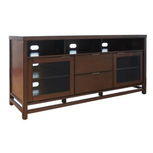 BelloThis impressive Chocolate finish wood TV stand offers versatility and funct...