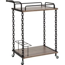Uptown Light Oak Wood and Industrial Iron Kitchen Serving and Bar Cart