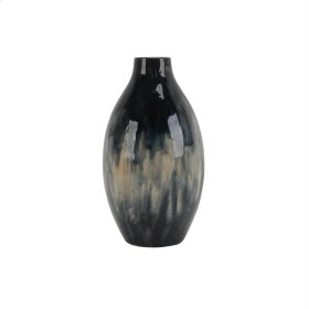 "Ceramic 14.5"" Vase, Black / Blue Mix"