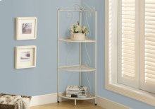 "BOOKCASE - 48""H / WHITE HAMMERED METAL CORNER ETAGERE"