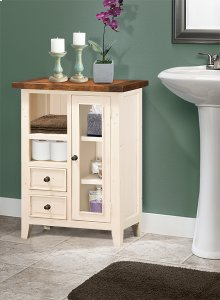 Tuscan Retreat® Coffee Cabinet - Metal Runner - Country White