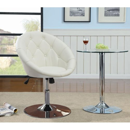 Contemporary White Faux Leather Swivel Accent Chair