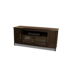 """64"""" Wide Credenza, Solid Wood and Veneer In an Espresso Finish, Accommodates Most 70"""" and Smaller Flat Panels"""