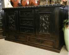 "72"" Ombre Black Carved Door Dresser"