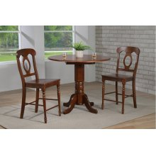 "DLU-ADW4242CB-B50-CT3PC  3 Piece Andrews 42"" Round Drop Leaf Pub Table Set  Napoleon Stools"