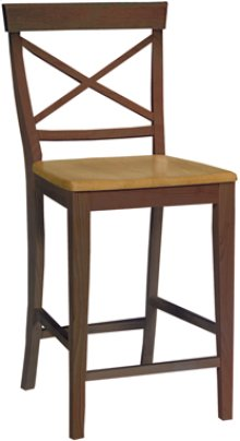 "24"" X Back Stool Cinnamon & Espresso"