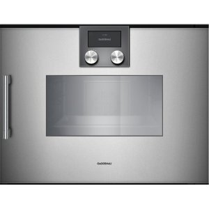 "Gaggenau200 series 200 series Combi-steam oven Full glass door in Gaggenau Metallic Width 24"" (60 cm) Right-hinged Controls on top"