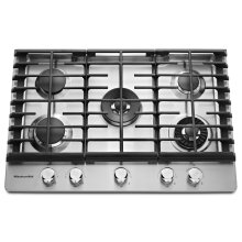 "30"" 5-Burner Gas Cooktop with Griddle - Stainless Steel"