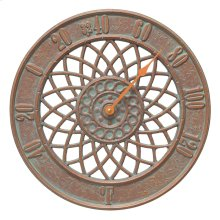 """Spiral 14"""" Indoor Outdoor Wall Thermometer - Copper Vedigris"""