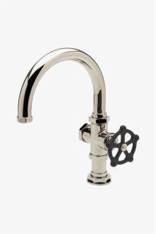 Regulator One Hole Gooseneck Bar Faucet, Black Wheel Handle STYLE: RGKM01