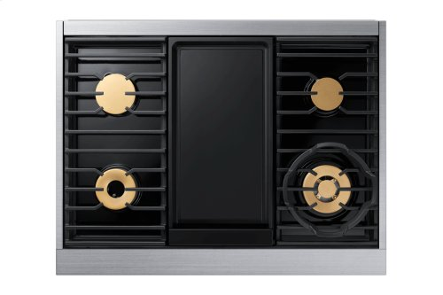 """36"""" Pro Dual-Fuel Steam Range, Graphite Stainless Steel, Natural Gas/High Altitude"""
