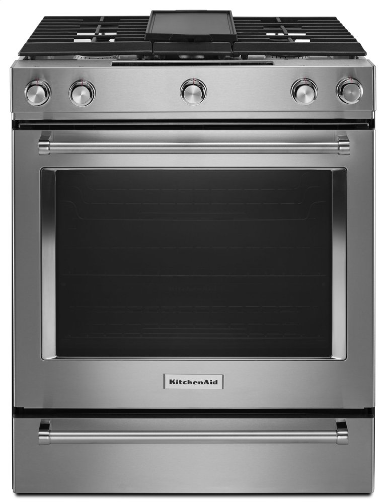 30-Inch 5-Burner Dual Fuel Convection Slide-In Range with Baking Drawer - Stainless Steel Photo #1