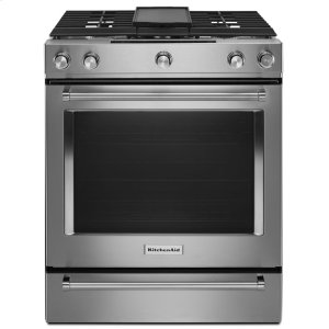 Kitchenaid30-Inch 5-Burner Dual Fuel Convection Slide-In Range with Baking Drawer - Stainless Steel