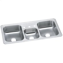 "Elkay Celebrity Stainless Steel 43"" x 22"" x 7"", Triple Bowl Drop-in Sink"
