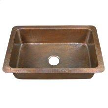 Rhodes Single Bowl Kitchen Drop-In - Hammered Antique Copper
