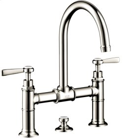 Polished Nickel Montreux Widespread Faucet with Lever Handles, Bridge Model