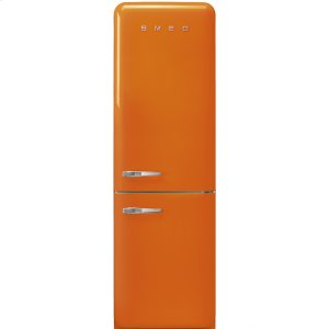 "SmegApprox 24"" 50'S Style refrigerator with automatic freezer, Orange, Right hand hinge"