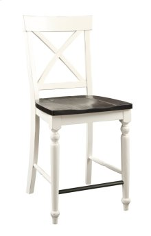 Emerald Home Mountain Retreat X-back Barstool Antique White W/brown Wood Seat D601-24