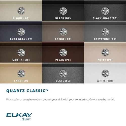 "Elkay Quartz Classic 25"" x 22"" x 8-1/2"", Single Bowl Undermount Sink, Putty"