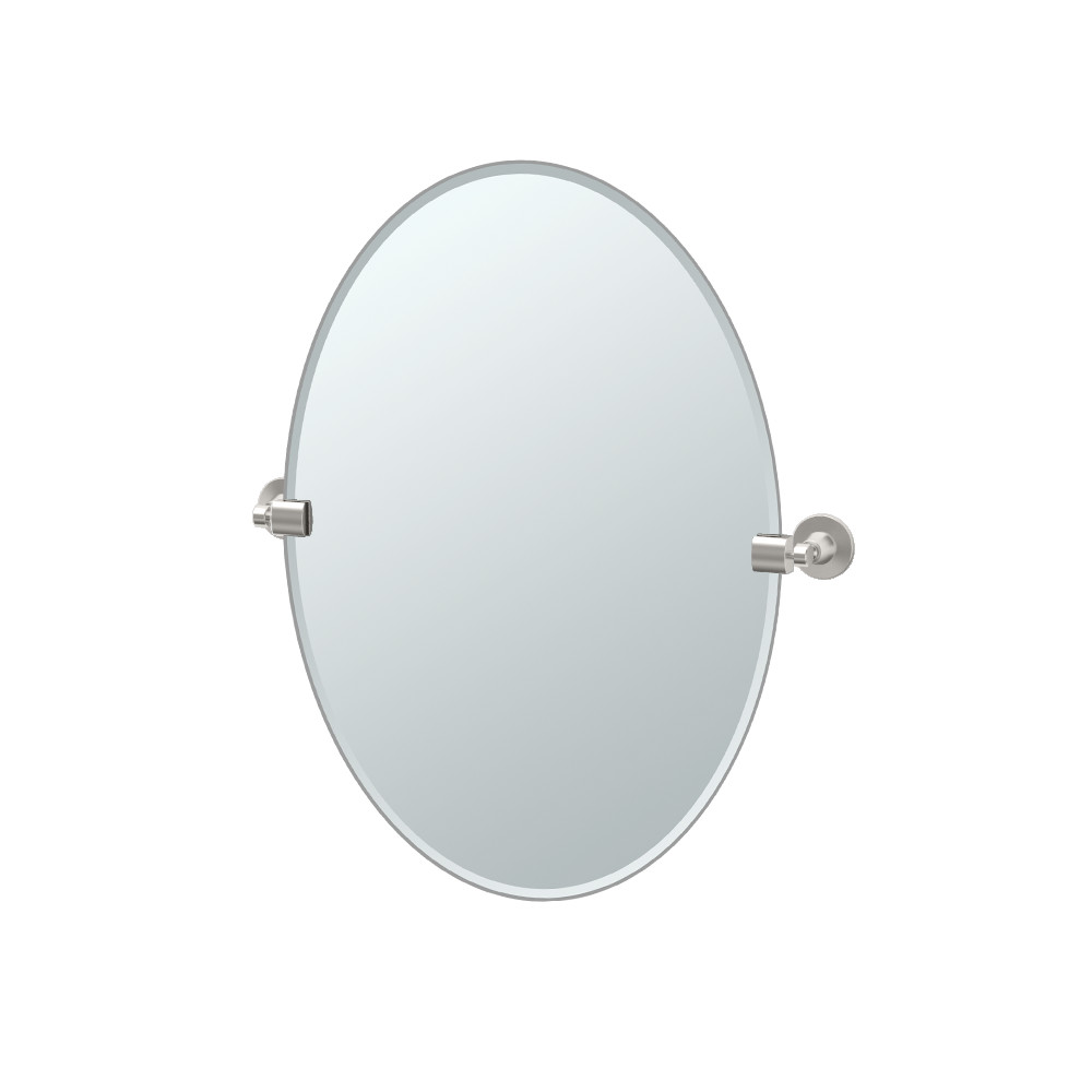 Max Oval Mirror in Satin Nickel