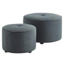 Etro 2pc Round Ottoman Set in Grey