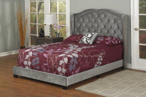 Dark Grey Velvet Full Bed