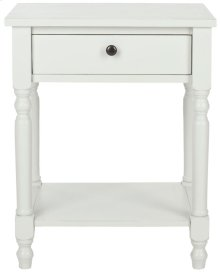 Tami Accent Table With Storage Drawer - Shady White