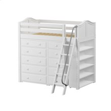 High Loft w/ Angle Ladder, 5 Drawer Dresser, Narrow 5 Drawer Dresser & Bookcase : Twin : White : Curved