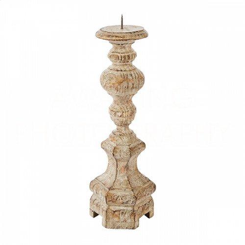 Petite Roma Rustic Wood Candlestick