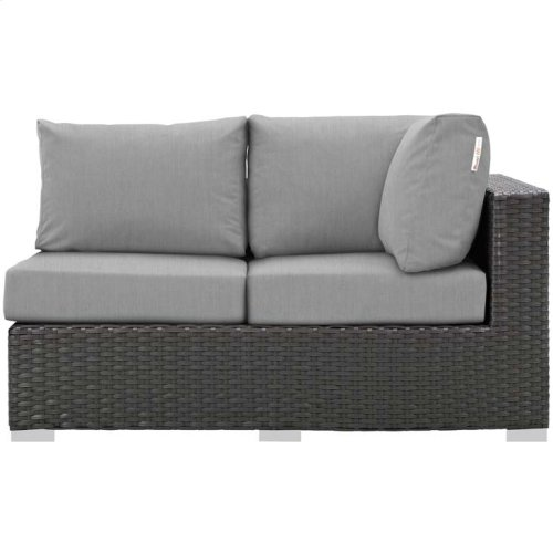 Sojourn Outdoor Patio Sunbrella® Right Arm Loveseat in Canvas Gray