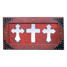 3 Red Mirror Crosses