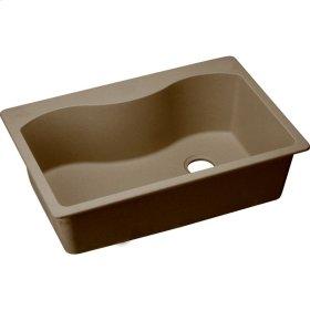 "Elkay Quartz Classic 33"" x 22"" x 9-1/2"", Single Bowl Top Mount Sink, Mocha"