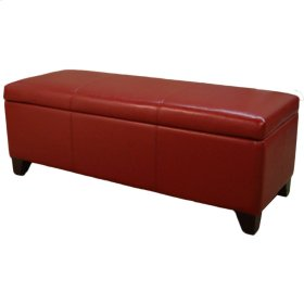"""Luisa Bonded Leather Storage Ottoman 48"""", Red"""