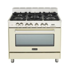"VeronaAntique White (Bisque) 36"" Dual Fuel Convection Range with Single Oven"