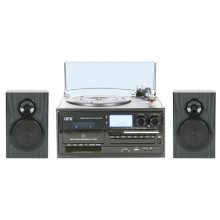 Home Shelf System W Turntable With Cd Player, Am/fm Radio, Cassette & MP3 Encoding Bt /usb/sd