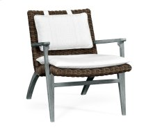 Cloudy Grey & Rattan Lounge Chair, Upholstered in COM