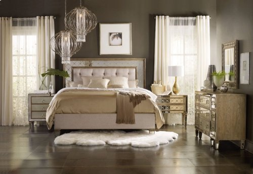 Sanctuary King Mirrored Upholstered Bed
