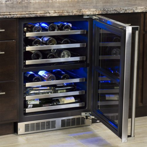 "Marvel Professional 24"" High Efficiency Dual Zone Wine Refrigerator - Panel-Ready Framed Glass Door with Lock - Integrated Right Hinge (handle not included)*"