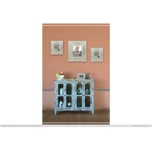 Console w/ 4 Glass Doors - Blue finish