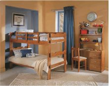 Heartland Scalloped Bunk Bed with options: Honey Pine, Twin over Twin, 2 Drawer Storage