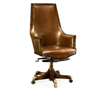 High Backed Walnut Office Chair, Upholstered in Antique Chestnut Leather